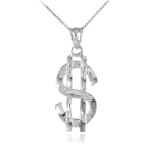 White Gold Dollar Sign Pendant Necklace