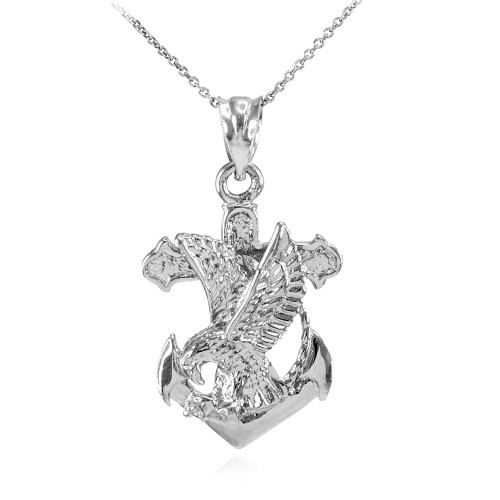 White Gold Anchor Eagle Diamond Cut Pendant Necklace