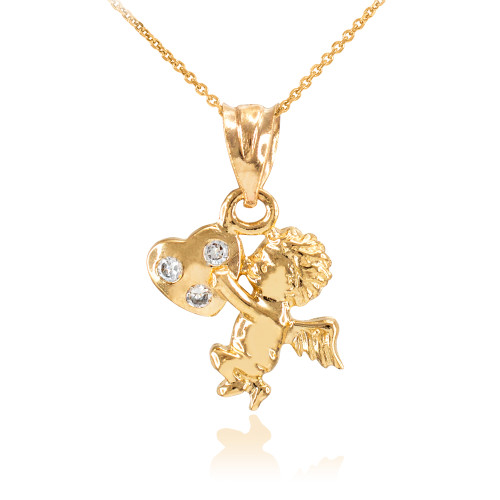 Gold CZ Studded Angel Cherub Charm Pendant Necklace