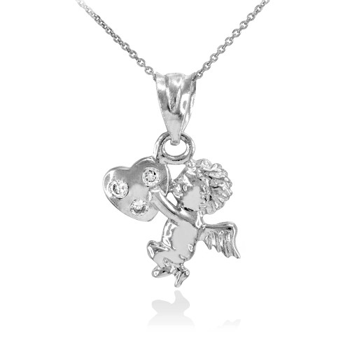 Silver CZ Studded Angel Cherub Charm Pendant Necklace