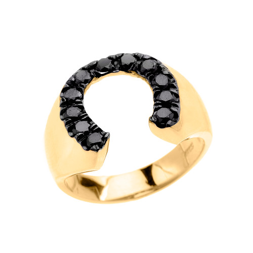 Yellow Gold Black CZ Horseshoe Lucky Men's Ring
