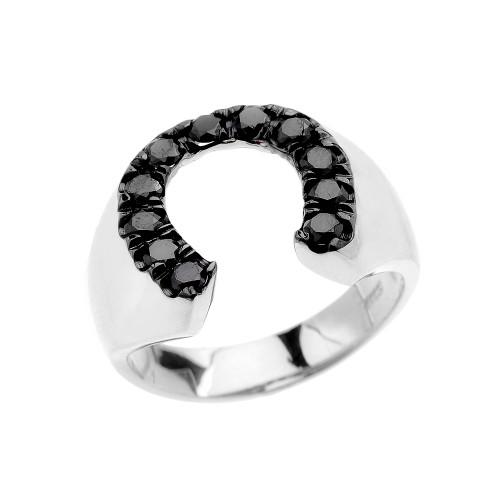 White Gold Black CZ Horseshoe Lucky Men's Ring