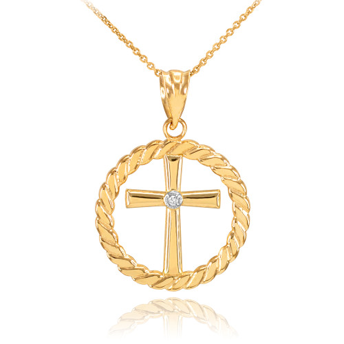 Gold Cross with Diamond Circle Rope Pendant Necklace