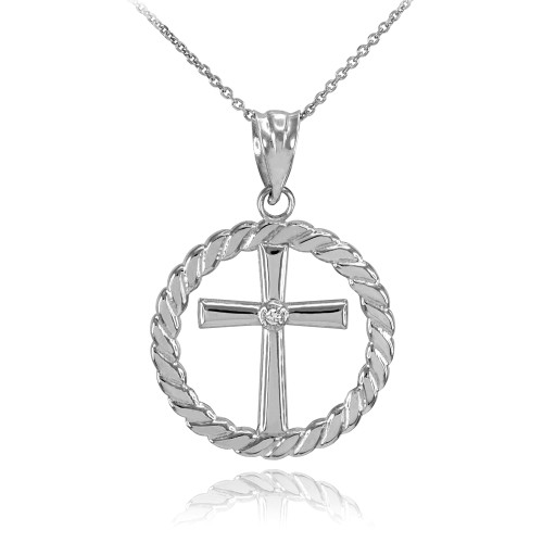 White Gold Cross with Diamond Circle Rope Pendant Necklace