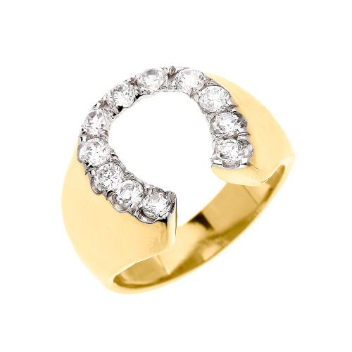 Yellow Gold Cubic Zirconia Horseshoe Lucky Men's Ring