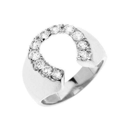 White Gold Cubic Zirconia Horseshoe Lucky Men's Ring