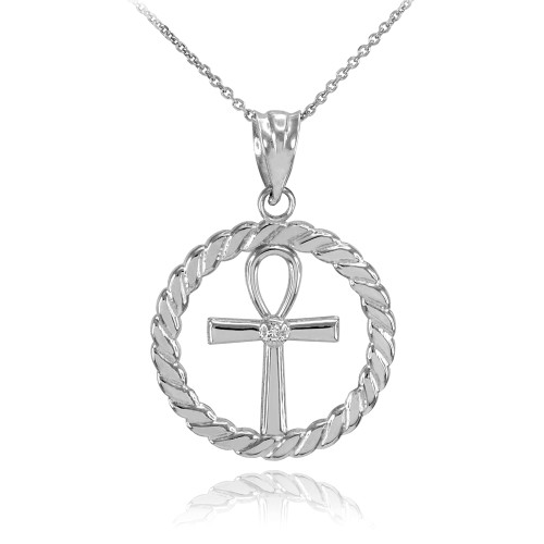 White Gold Roped Circle Egyptian Ankh Cross with Diamond Pendant Necklace