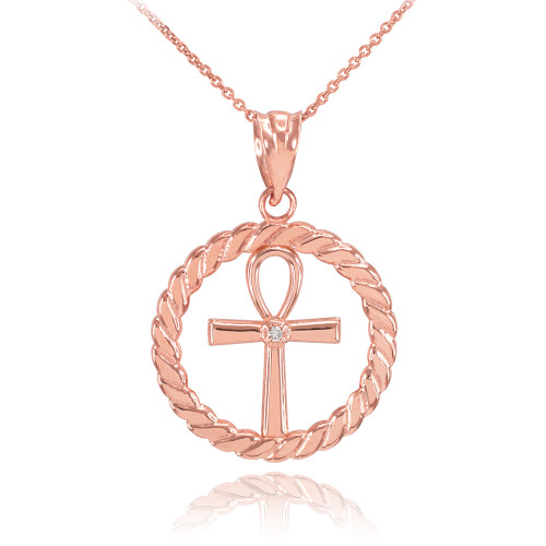 Rose Gold Roped Circle Egyptian Ankh Cross with Diamond Pendant Necklace