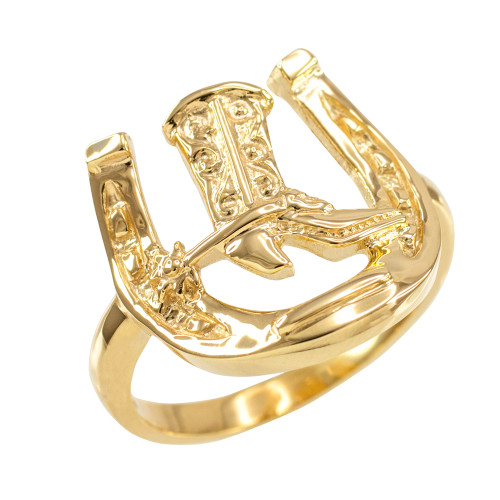 Gold Horseshoe with Cowboy Boot Men's Ring