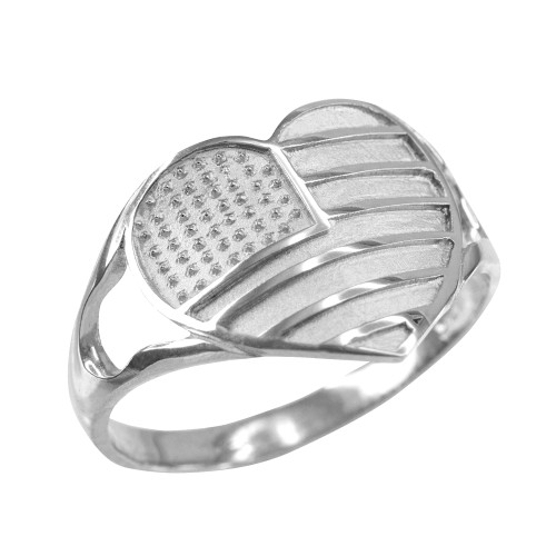 White Gold Heart Shaped US American Flag Ring