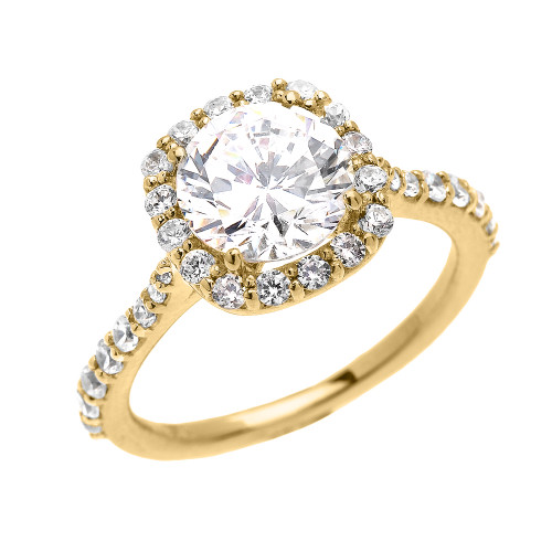 Beautiful Dainty Yellow Gold 3 Carat Halo Solitaire CZ Engagement Ring