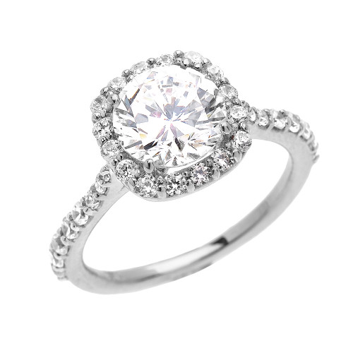 Beautiful Dainty White Gold 3 Carat Halo Solitaire CZ Engagement Ring