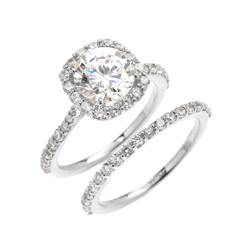 Beautiful Dainty White Gold 3 Carat Halo Solitaire CZ Engagement Wedding Ring Set