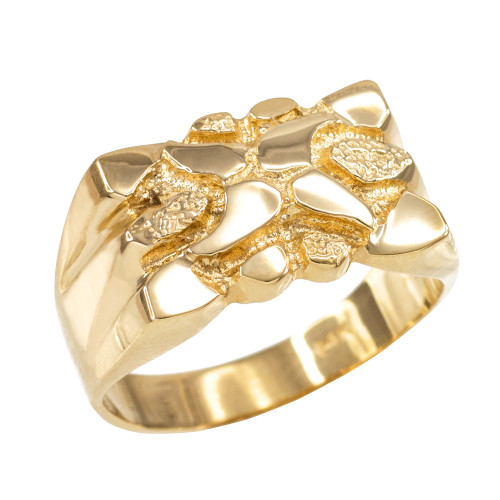 High Polish Yellow Gold Textured Nugget Ring for Men