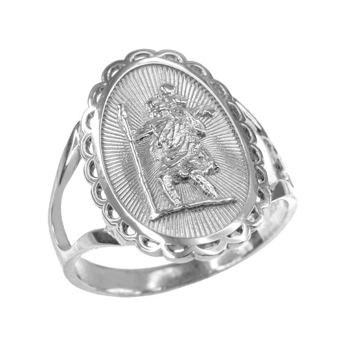 White Gold Saint Christopher Oval Women's Ring