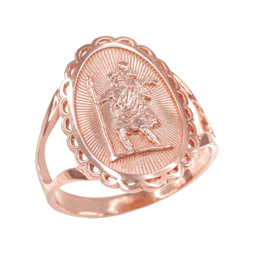 Rose Gold Saint Christopher Oval Women's Ring