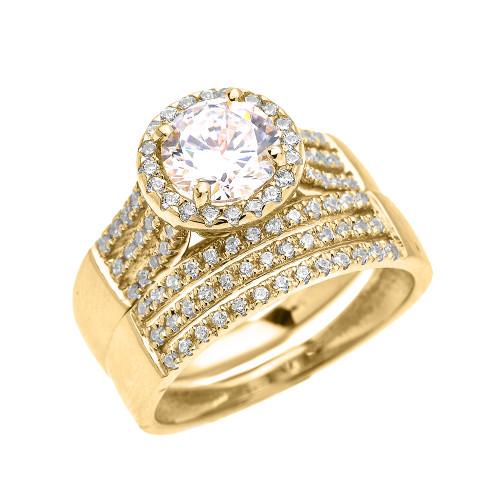Elegant Yellow Gold Micro Pave 3 Carat Round Halo Solitaire CZ Engagement Wedding Ring Set