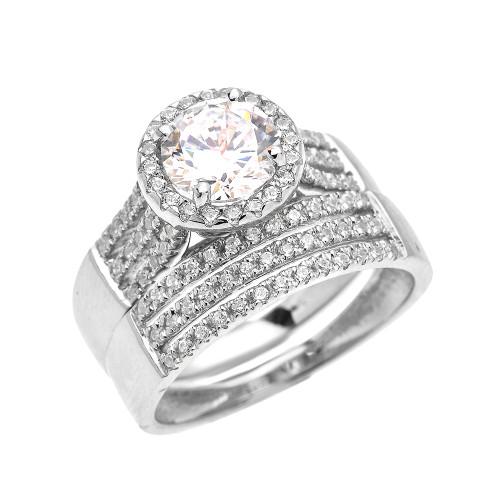 Elegant White Gold Micro Pave 3 Carat Round Halo Solitaire CZ Engagement Wedding Ring Set
