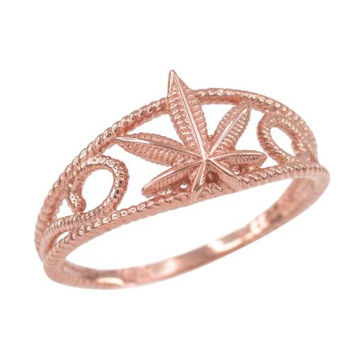 Women's Rose Gold Textured Filigree Weed Marijuana Leaf Ring
