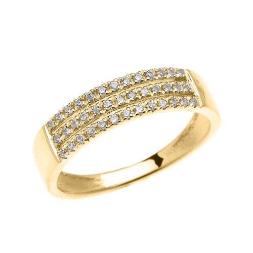 Elegant Yellow Gold Micro Pave Modern Wedding Ring