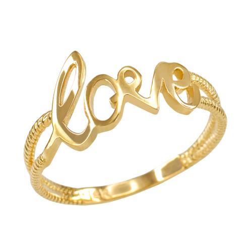 "Gold ""Love"" Script Statement Ring for Women"
