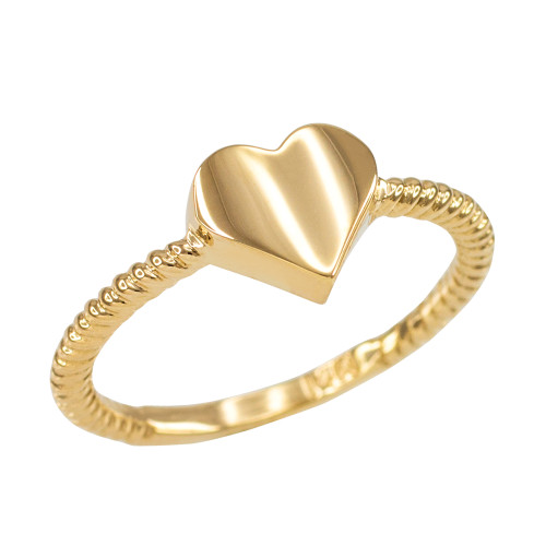 Polished Gold Heart Love Ring for Women