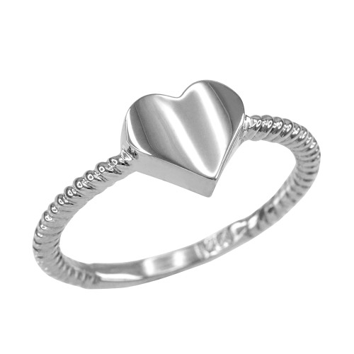 Polished White Gold Heart Love Ring for Women