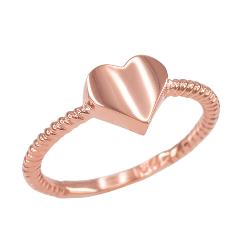 Polished Rose Gold Heart Love Ring for Women