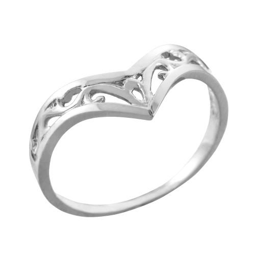 Fine White Gold Filigree Chevron Ring for Women