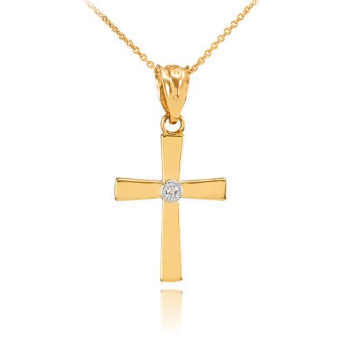 Polished Yellow Gold Diamond Cross Charm Pendant Necklace