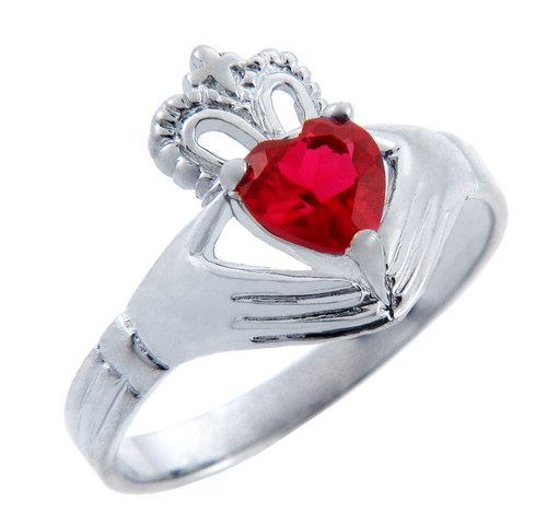 Silver Claddagh Band Ring with Garnet Red CZ Heart