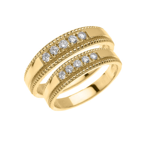 Yellow Gold Elegant His and Hers Diamond Matching Wedding Bands