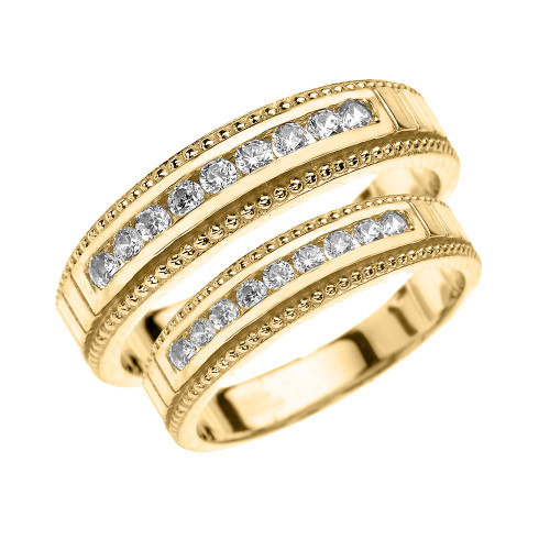 Yellow Gold Diamond His and Hers Matching Wedding Bands