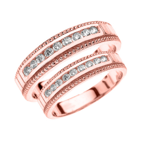 Rose Gold Diamond His and Hers Matching Wedding Bands