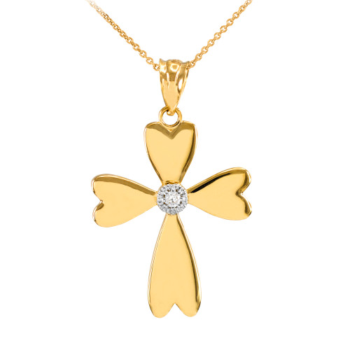 Yellow Gold Solitaire Diamond Heart Cross Pendant Necklace