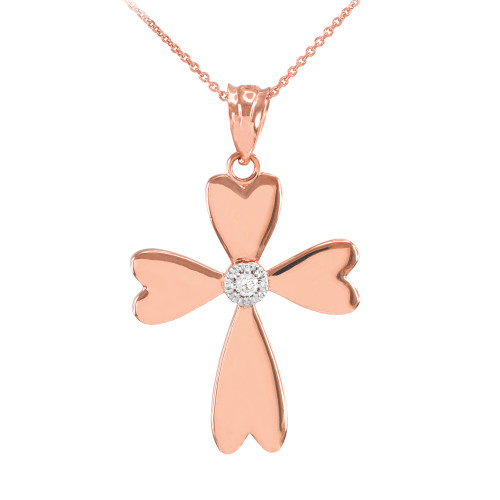 Rose Gold Solitaire Diamond Heart Cross Pendant Necklace