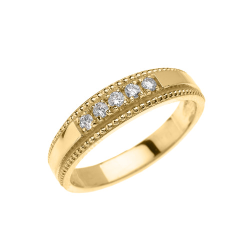 Yellow Gold Elegant Cubic Zirconia Wedding Band Ring For Her