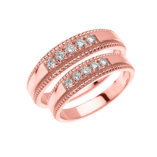 Rose Gold His and Hers Elegant Cubic Zirconia Wedding Band Rings