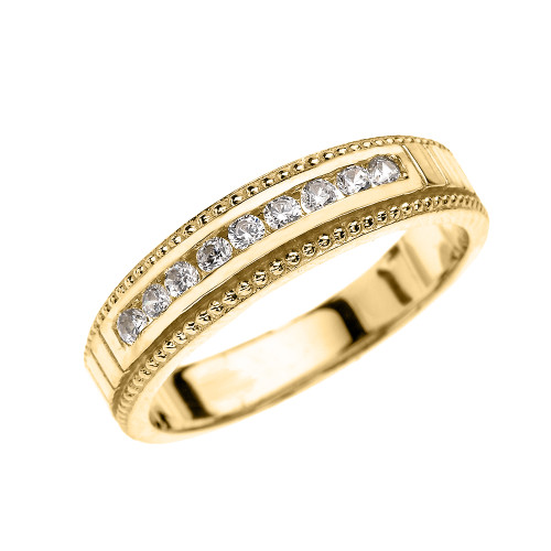 Yellow Gold Cubic Zirconia Wedding Band For Him