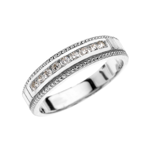 White Gold Cubic Zirconia Wedding Band For Him