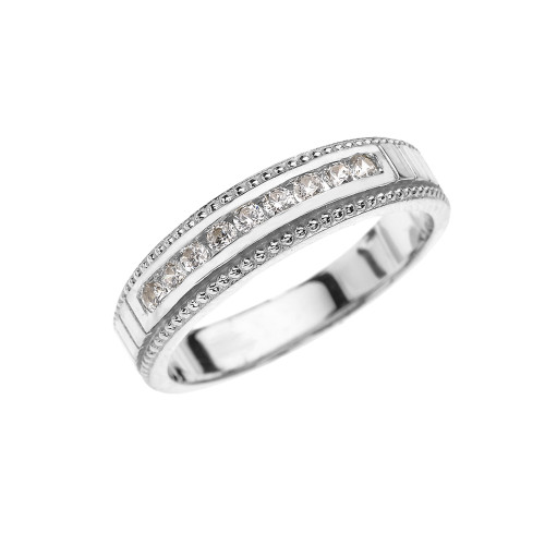 White Gold Cubic Zirconia Wedding Band For Her