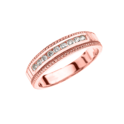 Rose Gold Cubic Zirconia Wedding Band For Her