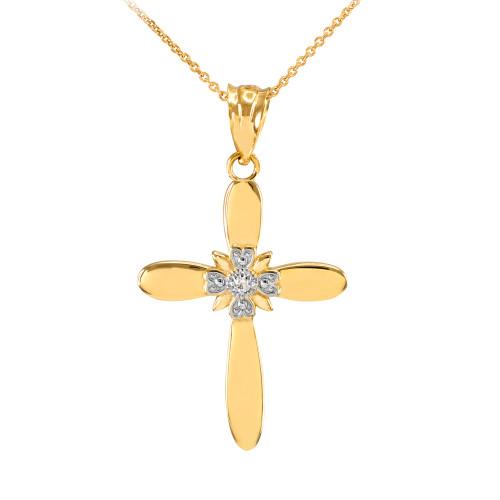 Gold Diamond Accent Solitaire Cross Pendant Necklace