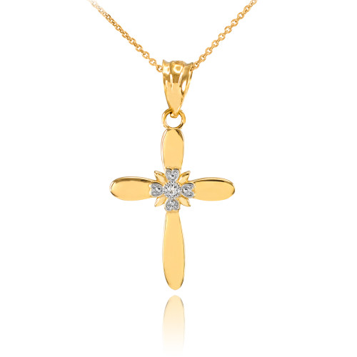Dainty Gold Solitaire Diamond Cross Charm Pendant Necklace