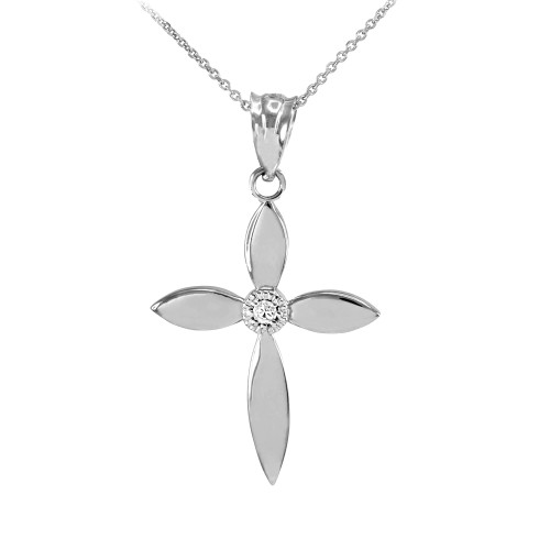 Beautiful White Gold Solitaire Diamond Cross Pendant Necklace