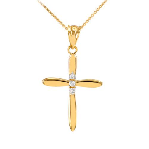 Elegant Gold Diamond Cross Pendant Necklace