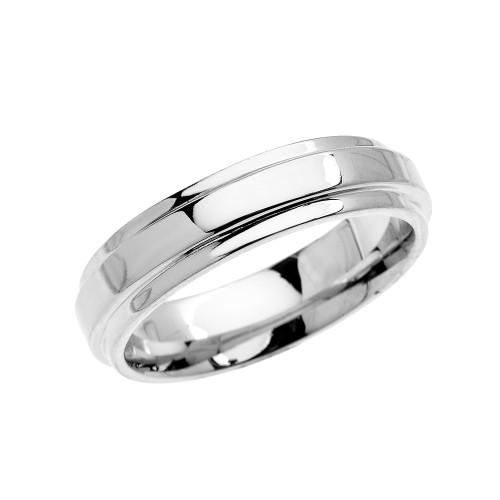 White Gold Elegant Double Layered Wedding Band Ring For Him
