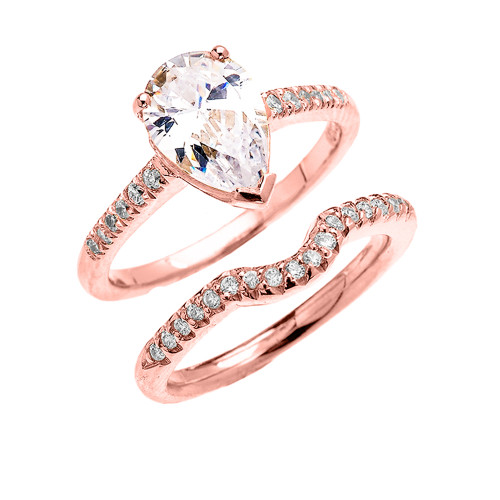 Rose Gold Dainty Pear Shape Cubic Zirconia Solitaire Wedding Ring Set