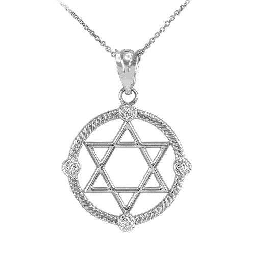 White Gold Roped Circle Star of David with Diamond Pendant Necklace