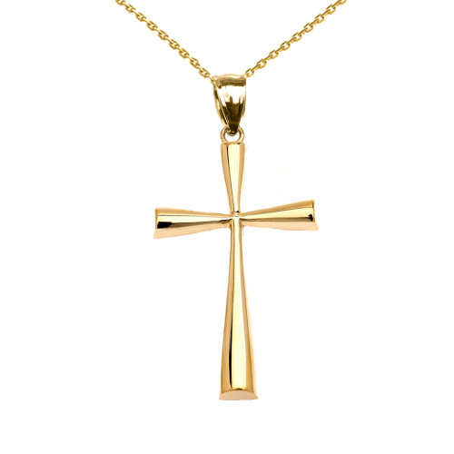 Yellow Gold Dainty Cross Pendant Necklace